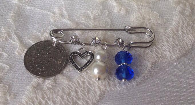 Wedding - Heart Sixpence Bridal Gift Bridal Pin Heart Something Old New Borrowed Blue Garter Pin