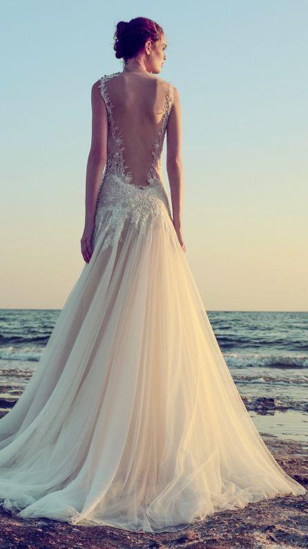 Mariage - Sheer Bare Back Modified A-Line Tulle Wedding Dress
