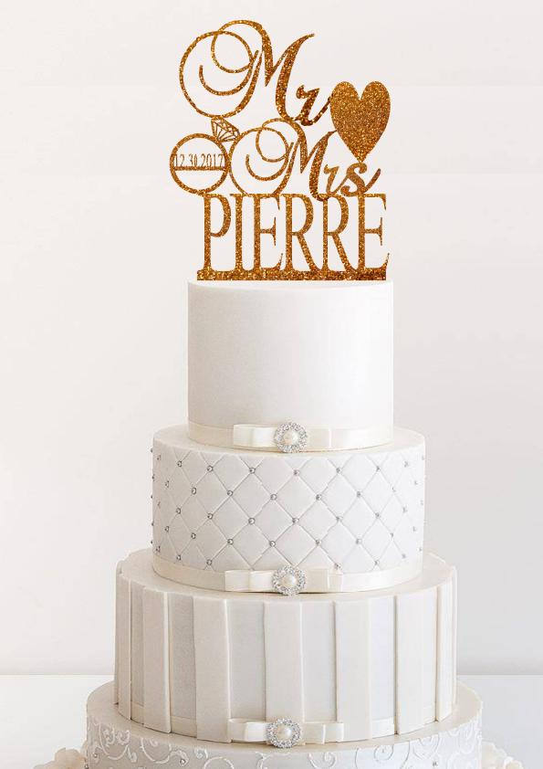 Mr And Mrs Personalized Wedding Cake Topper