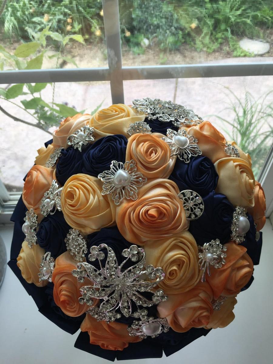 Свадьба - 1 Navy blue yellow orange brooch bouquet