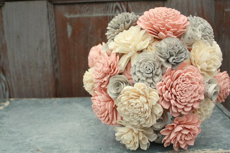 Hochzeit - Sola flower bouquet, brides wedding bouquet, blush pink and gray wedding flowers, eco flowers, alternative keepsake bouquet, blush pink