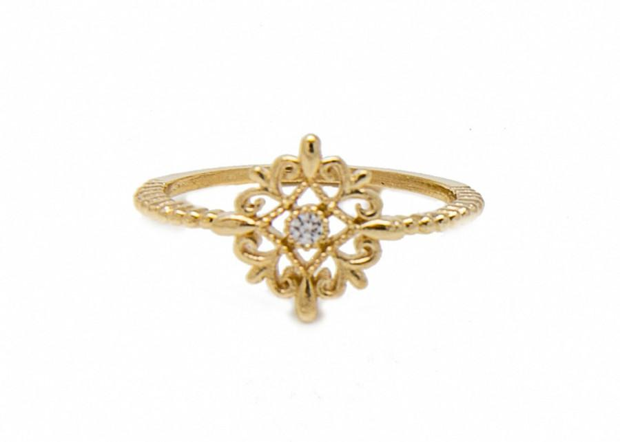 Свадьба - Delicate gold ring - retro style ring - Engagement ring- Free Shipping