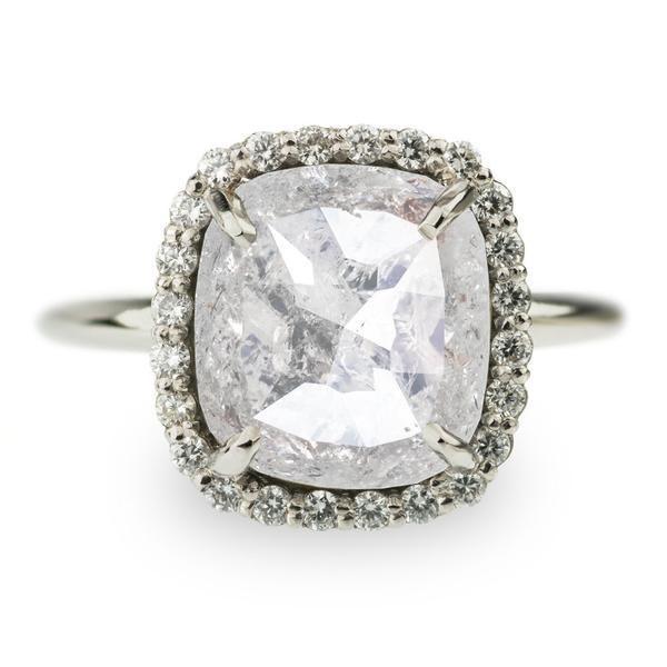 Wedding - 3.44 Carat White Rose Cut Diamond Halo Engagement Ring