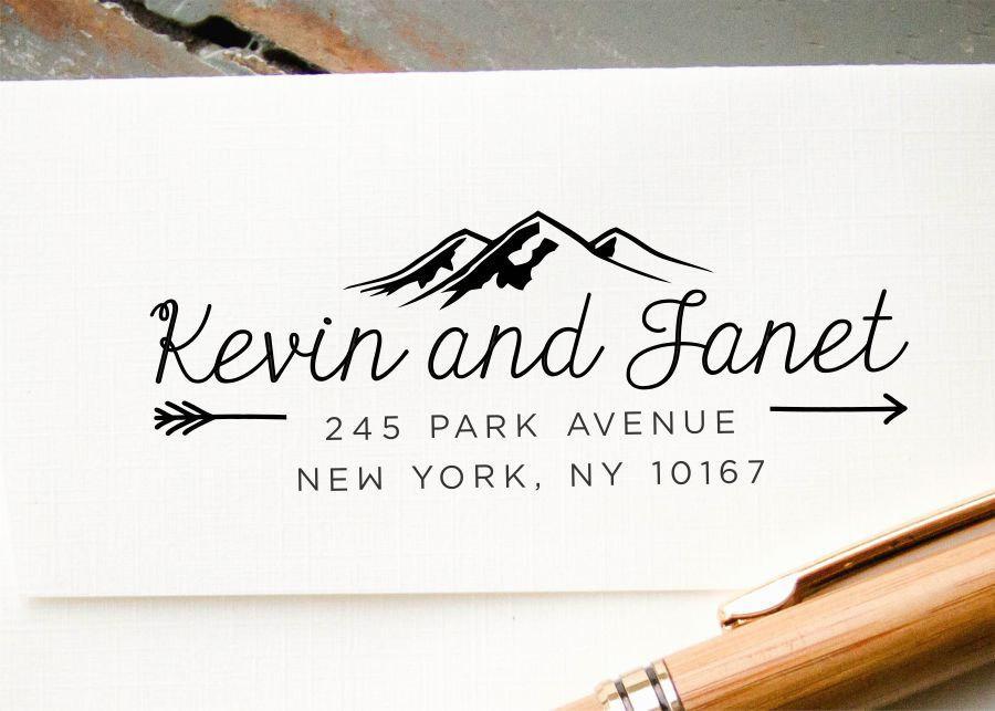 زفاف - Self-Inking Stamp, Custom Address Stamp, Mountains and Arrows Custom Stamp, Personalized Stamp, Return Address Stamp: Housewarming, Wedding