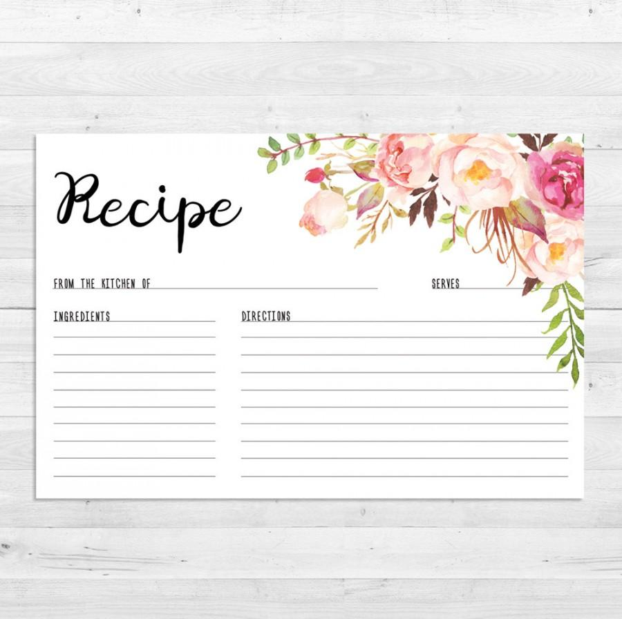 recipe cards bridal shower boho recipe card watercolor floral printable instant download recipe card