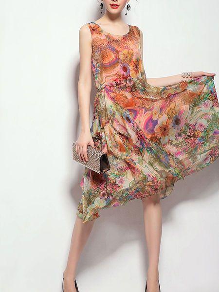 Mariage - Floral Crew Neck Casual Sleeveless Asymmetrical Midi Dress