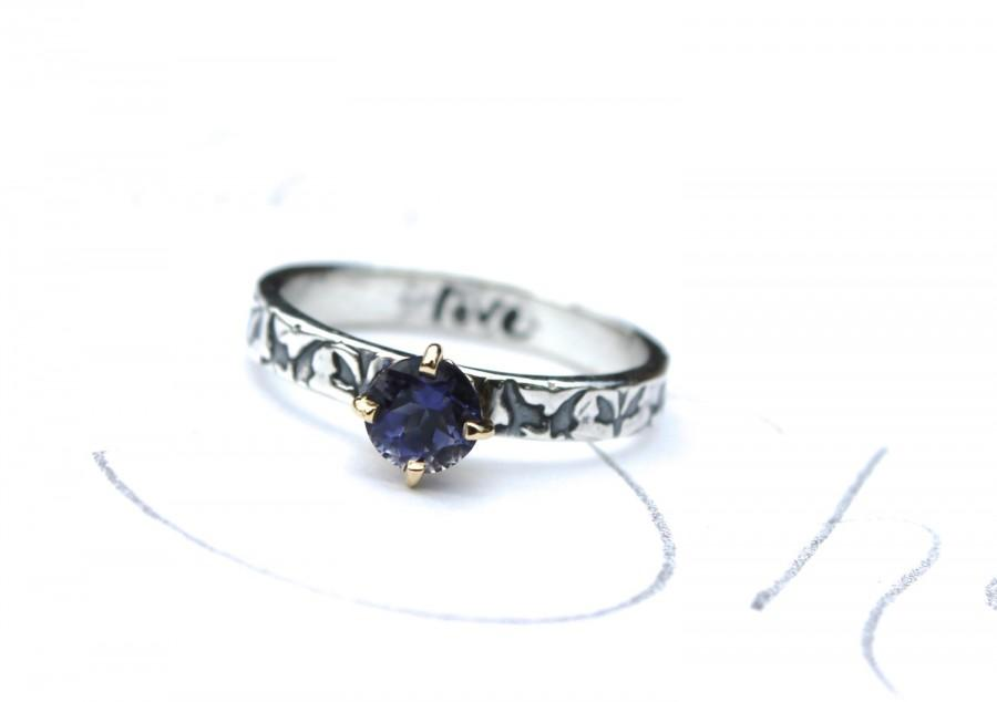 Wedding - unique engagement ring . iolite engagement ring . diamond alternative engagement ring . vine ring by peaces of indigo made to order