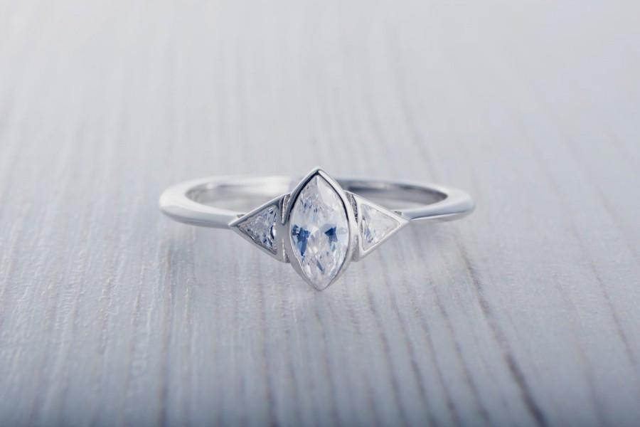 Свадьба - ON SALE! Marquise and Trillion cut Lab Diamond ring - Available in White gold or sterling silver - handmade engagement ring