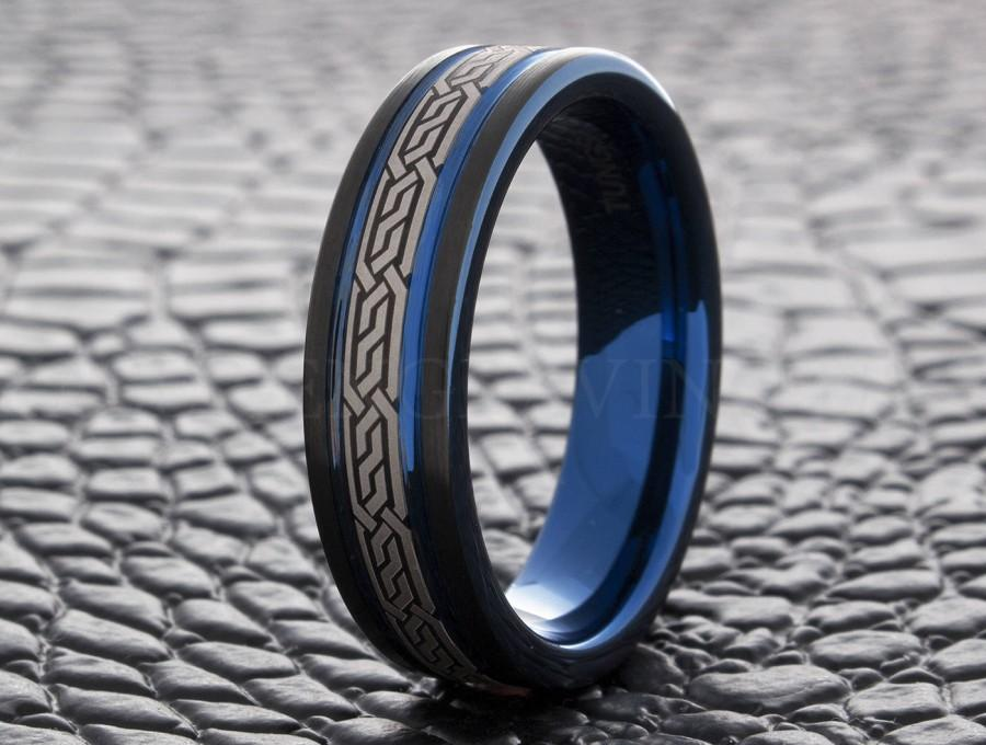 Tungsten Wedding Ring Blue Celtic 6mm Band Men S Women Personalized Laser Engraved New
