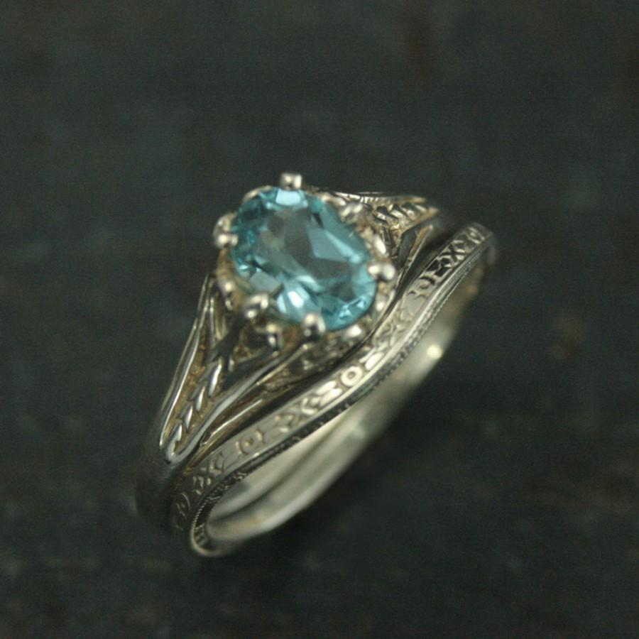Свадьба - Aurora Bridal Set--Sky Blue Topaz Ring--Vintage Design Wedding Rings--Antique Style Rings--Victorian Filigree Rings--Curved Wedding Band
