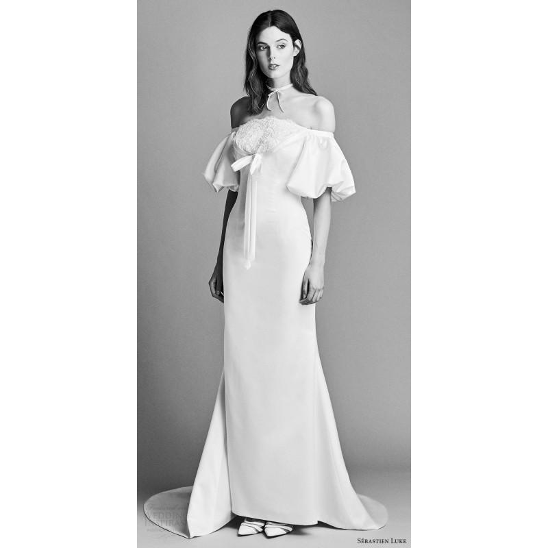 Wedding - Sébastien Luke 18b20 Spring/Summer 2018 Ivory Lace Front Insert Satin Bridal Gown Spring Bridal Gown - Bonny Evening Dresses Online