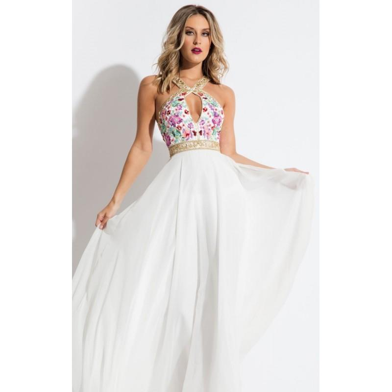 Mariage - White Beaded Halter Chiffon Gown by Rachel Allan - Color Your Classy Wardrobe