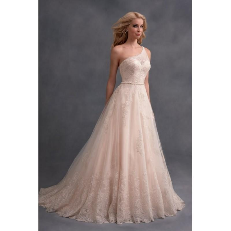 Wedding - Style 2580 by Alfred Angelo Signature Collection - Ballgown Floor length One-shoulder Chapel Length LaceTulle Dress - 2018 Unique Wedding Shop
