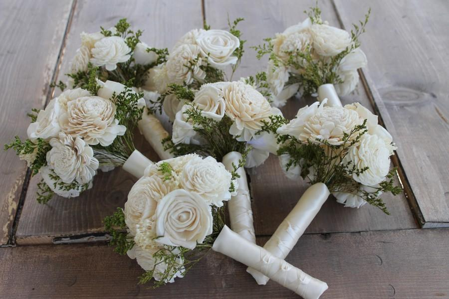 زفاف - Bridesmaid Bouquet Set, Ivory Sola Flower Bouquets, Ivory Sola Wood Flowers, Babies Breath Bouquet, Ivory Sola Bouquets, Cream Sola Flowers
