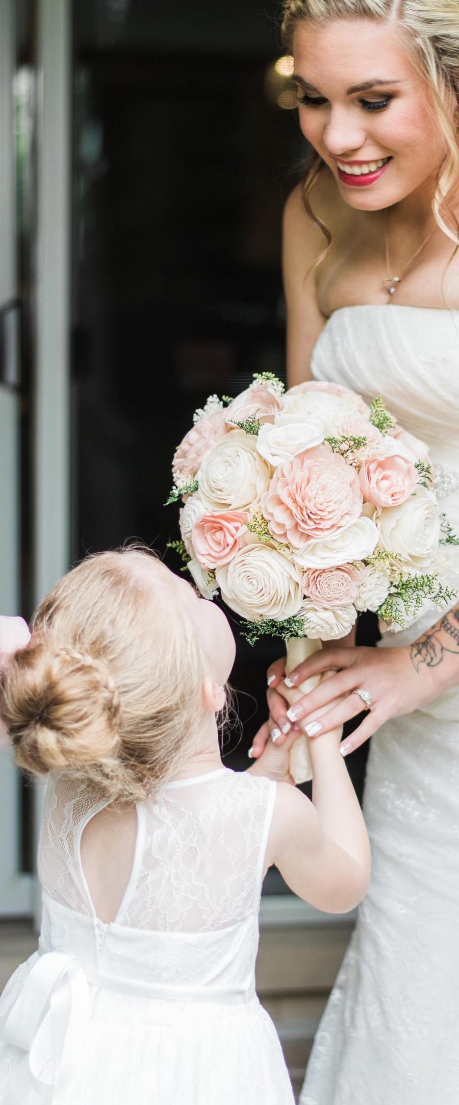 Blush Pink & Cream Sola Wood Bouquet, Blush Pink And Ivory Wedding ...