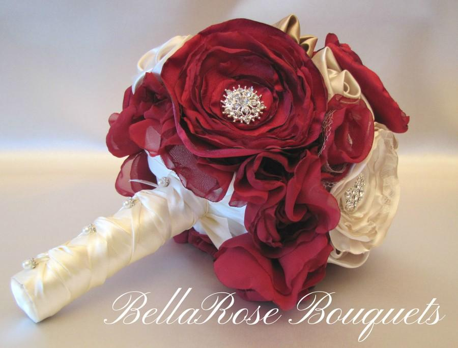 Wedding - Marsala Wedding Bouquet, Burgundy Fabric Flower Champagne Keepsake Brooch Bridal Bridesmaid, Rustic Shabby Chic Vintage-Style Bouquet