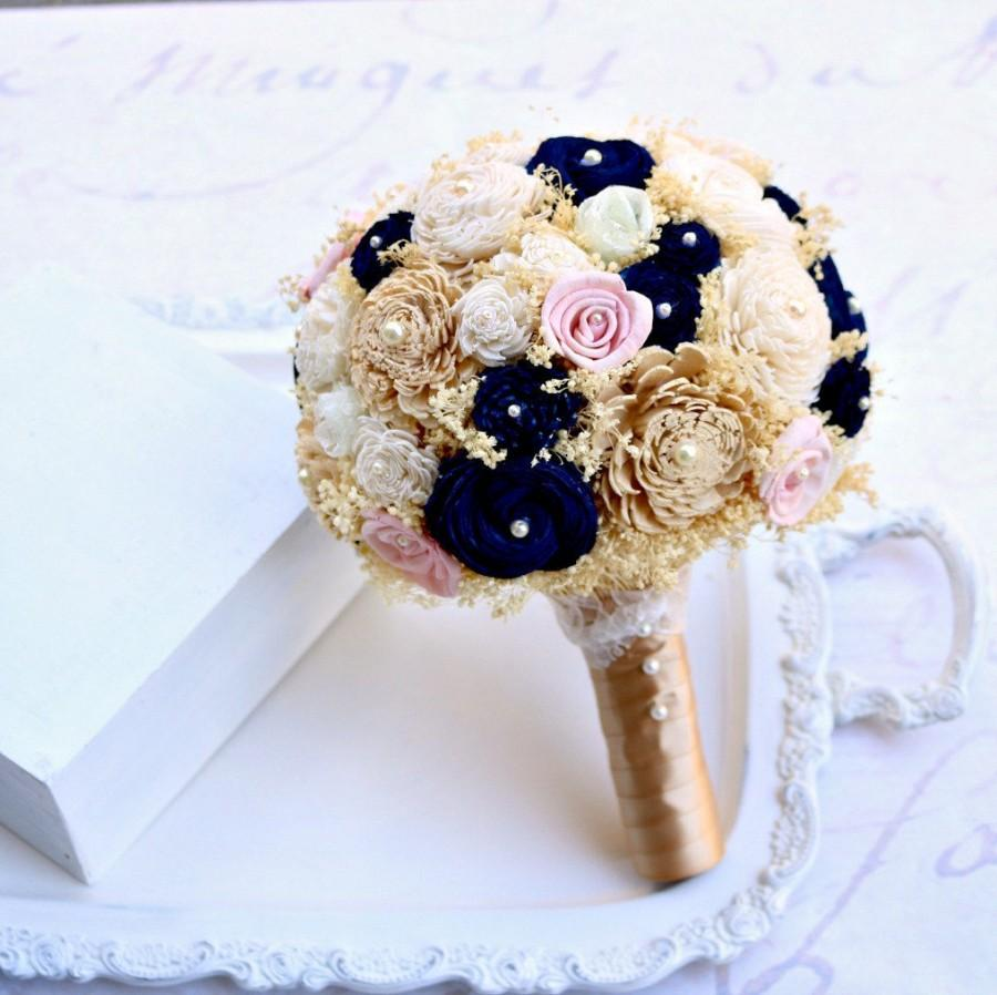 Mariage - Gold, Navy, & Blush Pink Wedding Bouquet // Gold Bouquet, Bridal Bouquet, Navy Blue, Sola Wood Flowers, Lace Flowers, Babys Breath Bouquet,