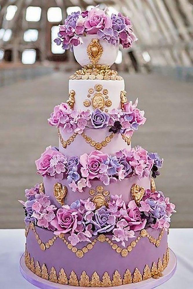 Mariage - Purple Floral Cake