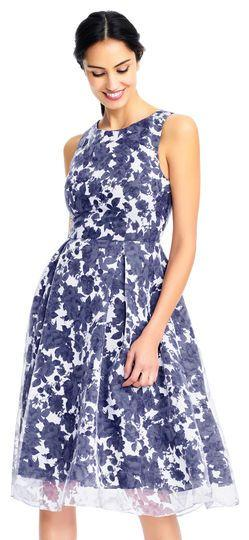 Boda - Alyssa Floral Organza Fit And Flare Dress With Burnout Skirt