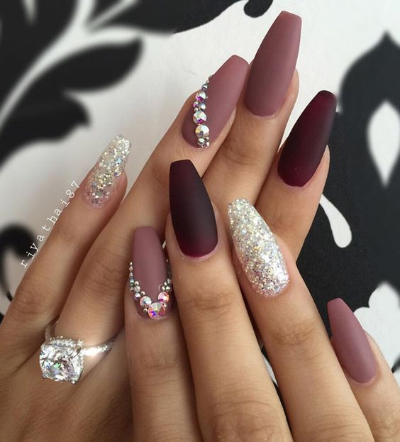 Wedding - 50 Rhinestone Nail Art Ideas
