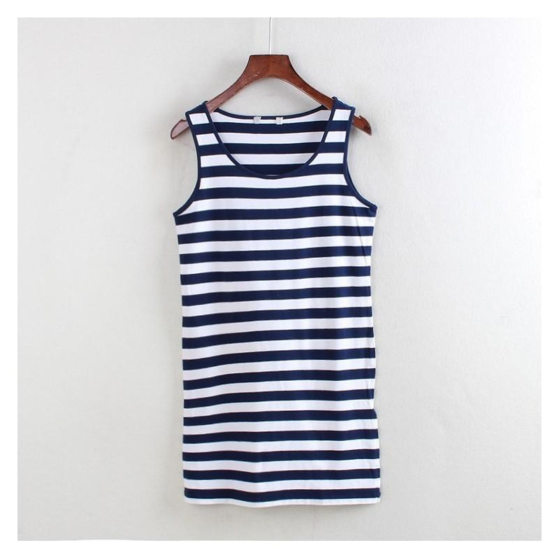 Свадьба - Scoop Neck Sleeveless Stripped Summer Sleeveless Top Dress - Lafannie Fashion Shop