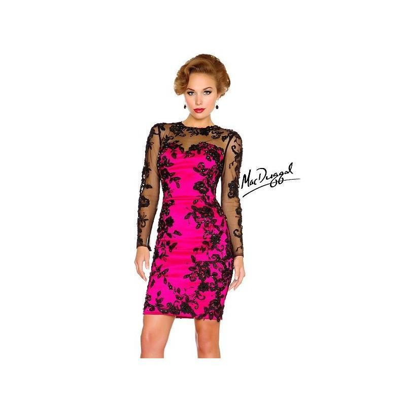 Wedding - MacDuggal 61410R Sheer Long Sleeve Cocktail Dress - Brand Prom Dresses