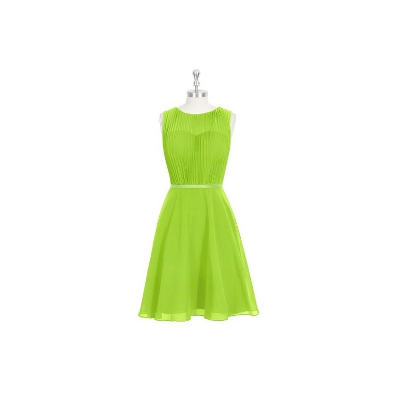 Mariage - Lime_green Azazie Mariam - Chiffon And Charmeuse Knee Length Illusion Scoop Dress - Cheap Gorgeous Bridesmaids Store