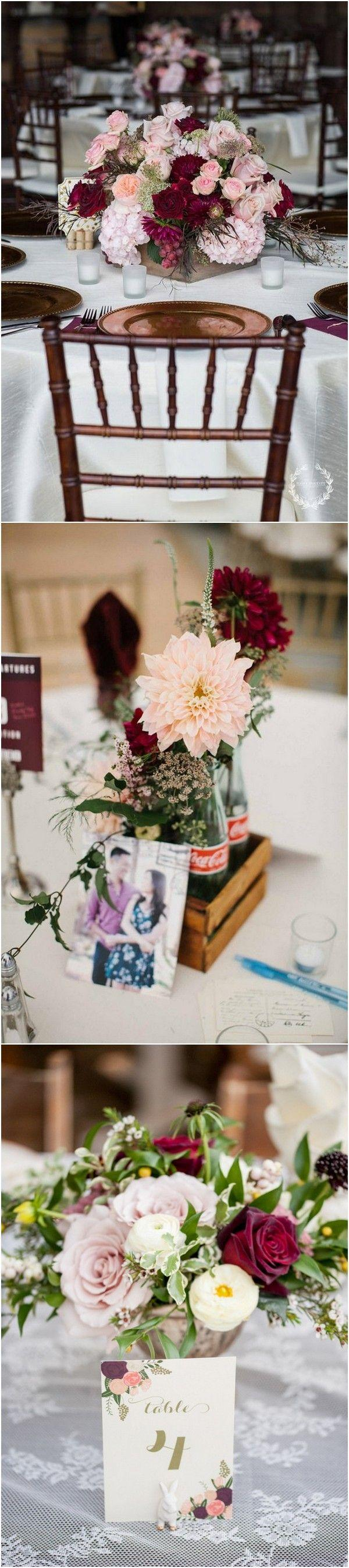 Wedding - Trending-10 Burgundy And Blush Wedding Centerpieces For 2018 - Page 2 Of 2