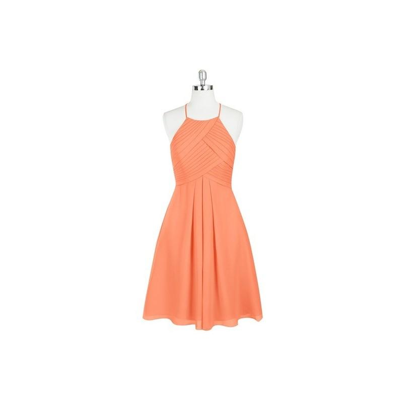 Mariage - Papaya Azazie Adriana - Knee Length Chiffon Halter Strap Detail Dress - Charming Bridesmaids Store