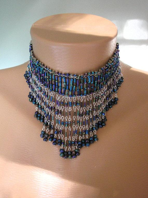 Wedding - Blue Fringed Necklace