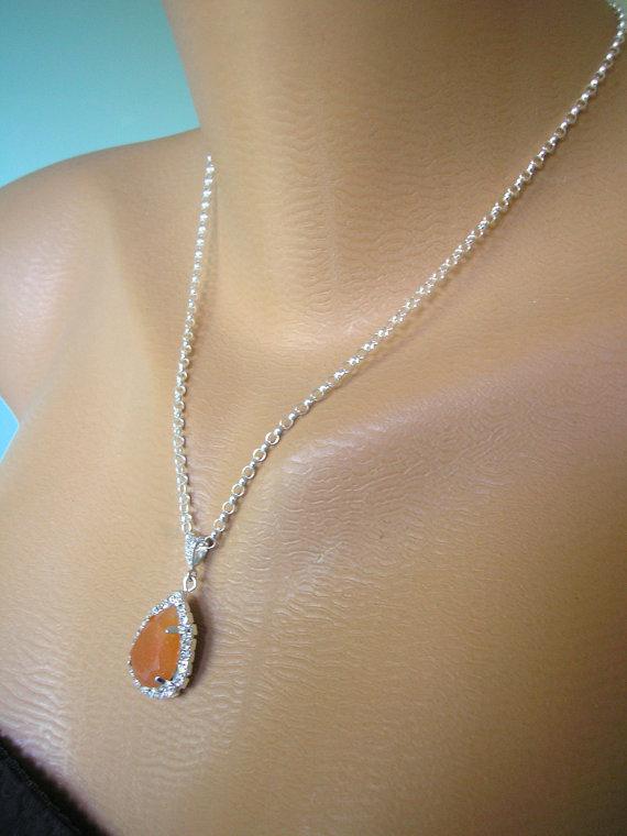 Hochzeit - Orange Opal Crystal Bridal Pendant