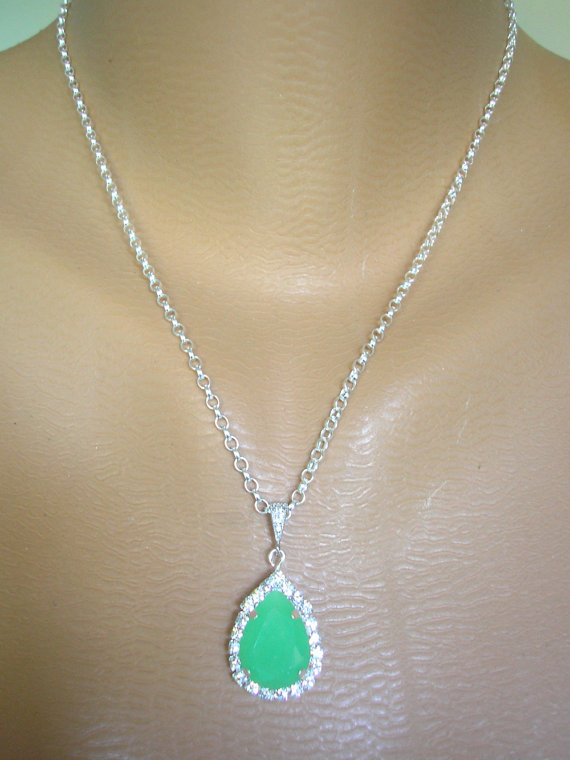 Boda - Jade Green Rhinestone Pendant