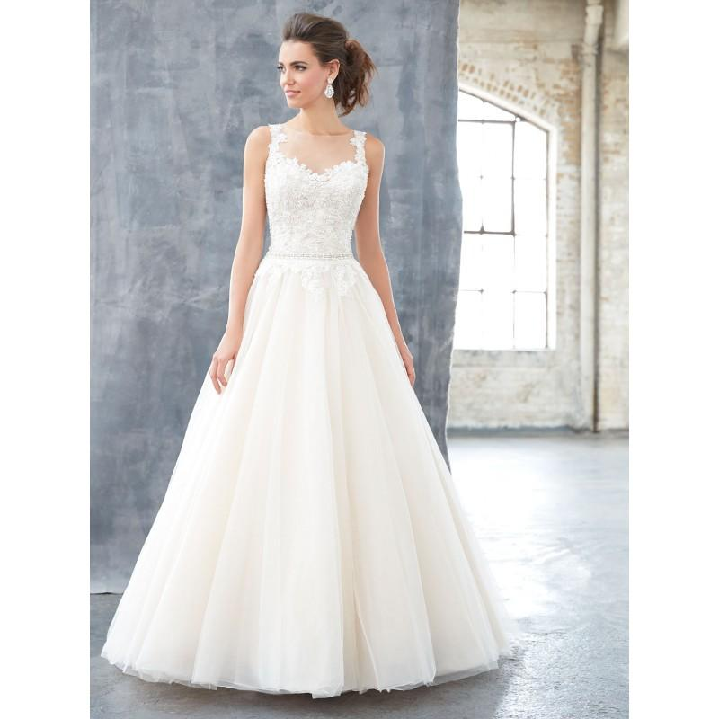 Hochzeit - Madison James Spring/Summer 2017 MJ304 Ball Gown Chapel Train Illusion Sleeveless Sweet Ivory Tulle Beading Bridal Dress - Bridesmaid Dress Online Shop