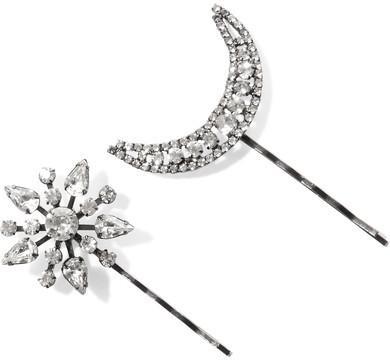Boda - Jennifer Behr - Set Of Two Star And Moon Gunmetal-plated Swarovski Crystal Hair Slides - Silver