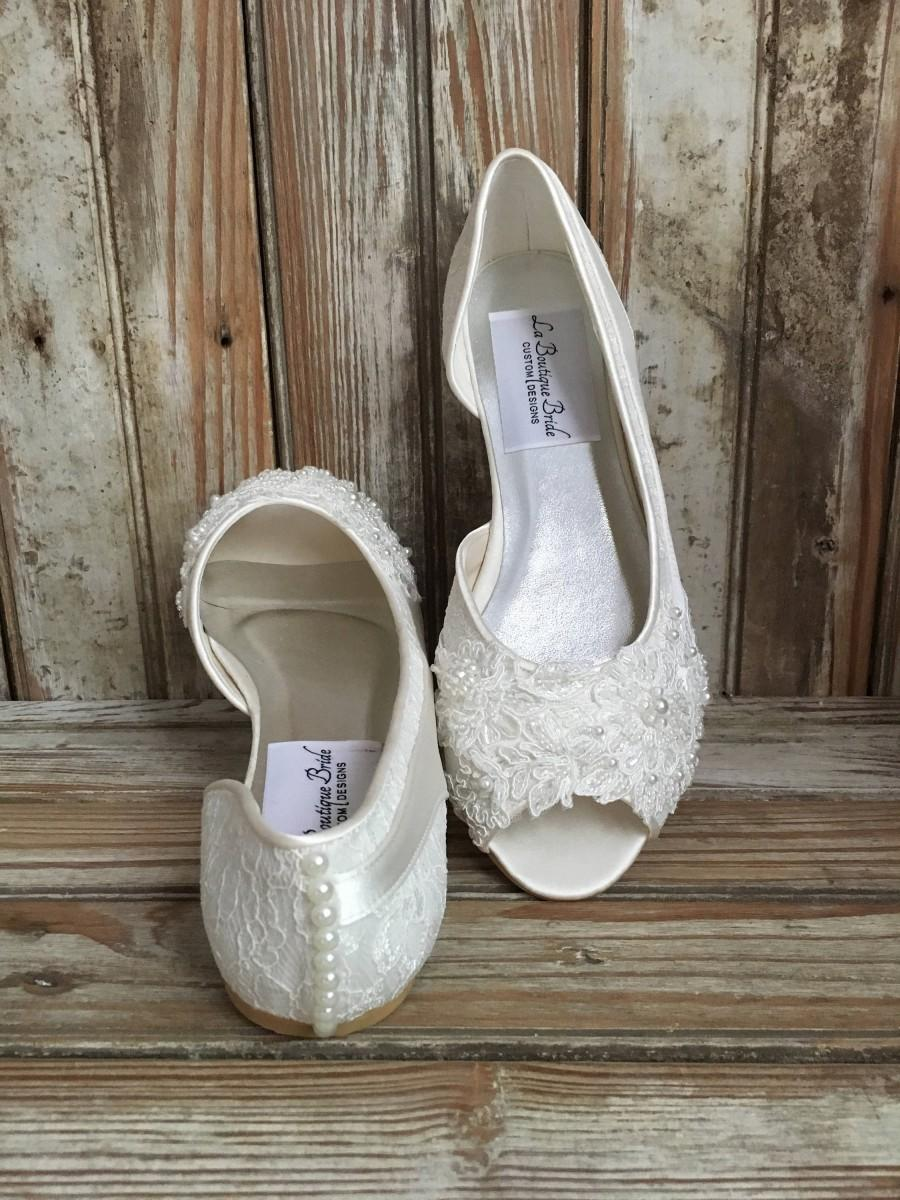 Hochzeit - Bridal Ballet Flat Shoe Open toe satin and lace covered flat with hand beaded lace and pearl back