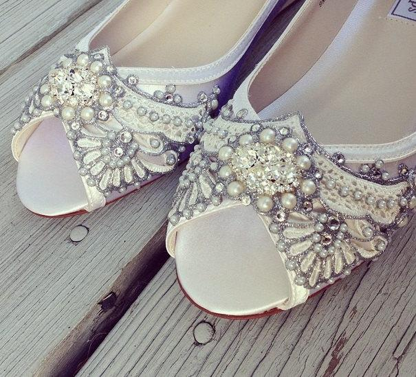 Hochzeit - Wedding Shoes - Art Deco Inspired Peep Toe Wedge - Lace, Crystal and Pearls - Ivory/White/Custom Colors