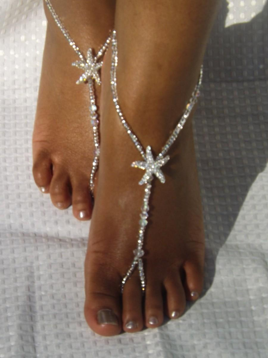 Wedding - Beach Wedding Beach Wedding Barefoot Sandals Crystal Bridal Jewelry Starfish Foot Jewelry Beach Wedding Shoe Beach Wedding Jewelry