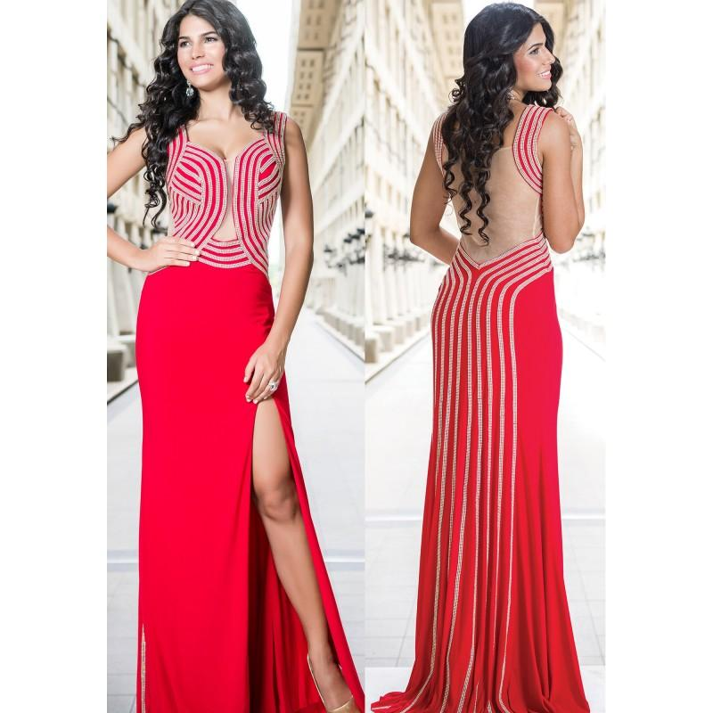 Wedding - Jovani Red Jersey Prom Dress 24458 -  Designer Wedding Dresses