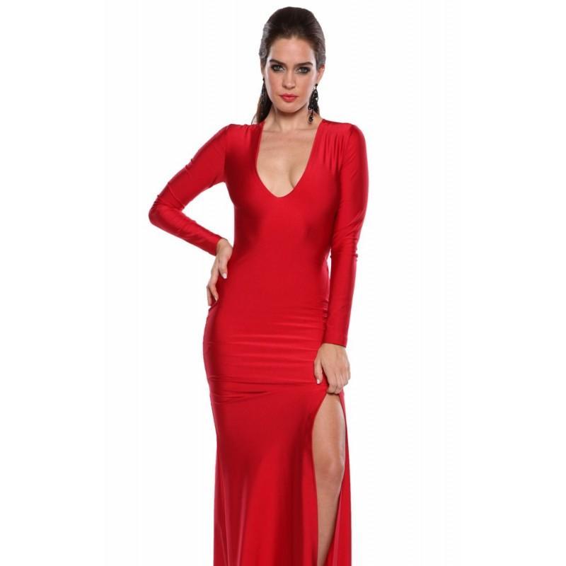 زفاف - Red Plunging Long Sleeved Gown by Atria - Color Your Classy Wardrobe
