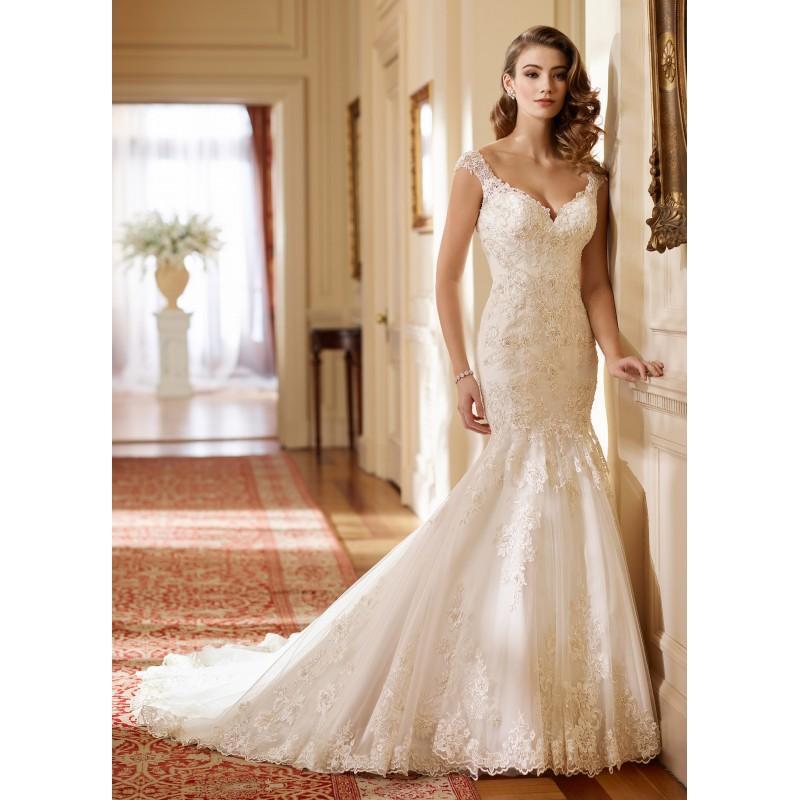 Hochzeit - Mon Cheri Fall/Winter 2017 217219 Hazel Sweet Embroidery Lace Chapel Train Ivory Sweetheart Trumpet Cap Sleeves Bridal Dress - Fantastic Wedding Dresses