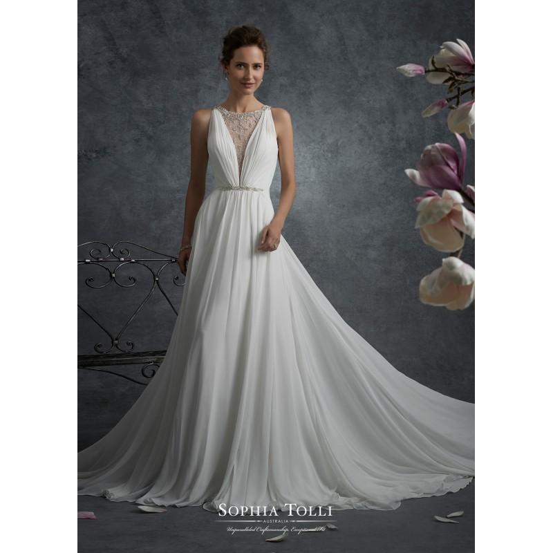 Hochzeit - Sophia Tolli Fall/Winter 2017 Y21747 Aries Chiffon Beading Chapel Train Ivory Simple Aline Sleeveless Illusion Wedding Gown - Top Design Dress Online Shop