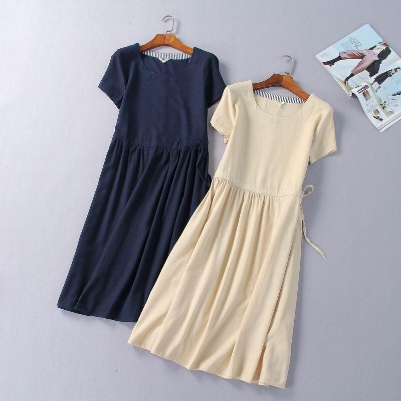 Wedding - Must-have Simple Plus Size A-line Scoop Neck Ramie One Color Dress - beenono.com
