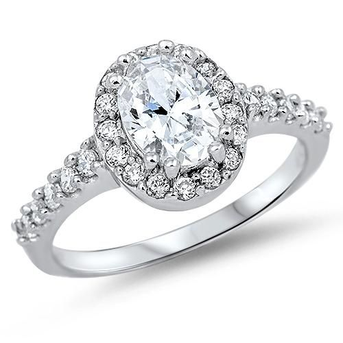 Wedding - A Classic 2.9CT Oval Cut Russian Lab Diamond Halo Engagement Ring