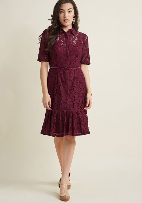 cd0014bcbe05 Adrianna Papell Lace Shirt Dress With Ruffle Hem #2803370 - Weddbook