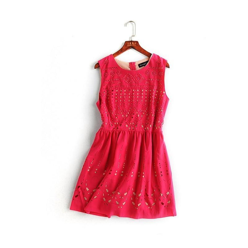Wedding - Elegant Vogue Beading Hollow Out Curvy Delicate Vest Dress - Lafannie Fashion Shop