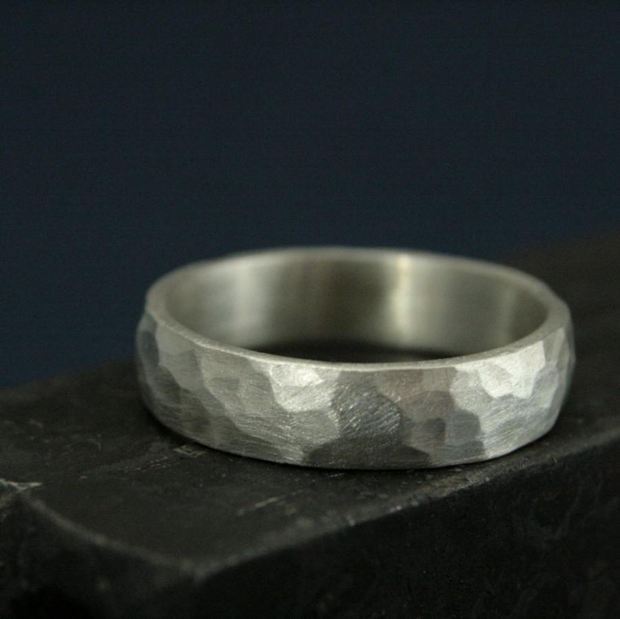 Mariage - Perfect Hammered 5mm Band--Men's Silver Wedding Ring--Wedding Band--Simple and Unique--Solid Sterling Silver Hammered Band-Rustic Band