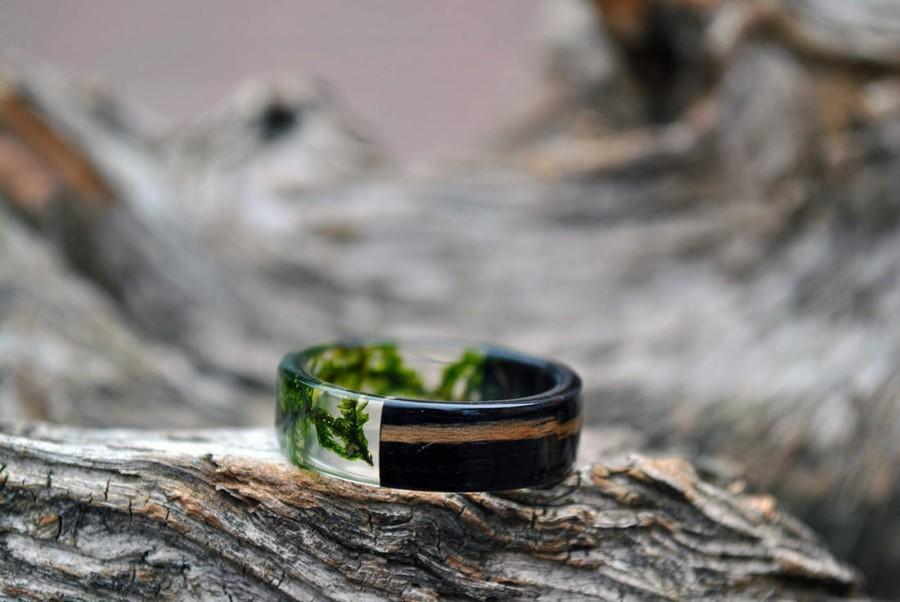 Mens Resin Band Set Mens Wedding Bands Resin Ring Set Real Moss
