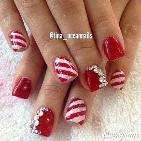 Red Green Gold Christmas Nail Art Designs 2803936 Weddbook