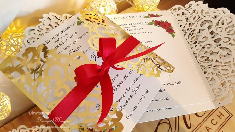 Düğün - Roses and Gold Foil wedding invitation