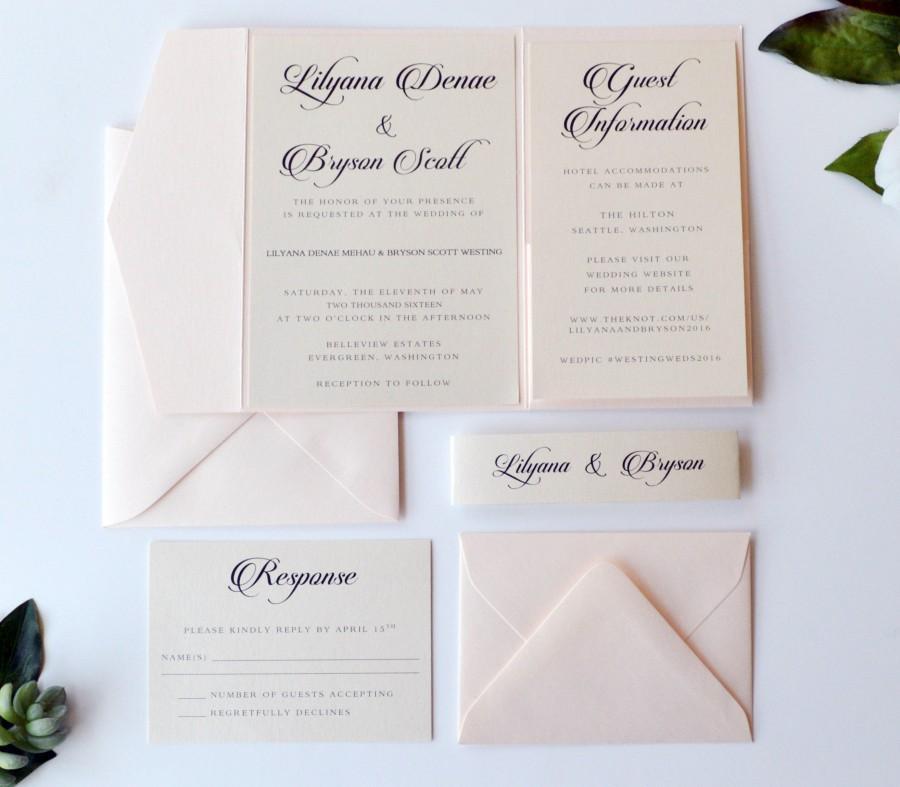 Blush Wedding Invitation Pocketfold Wedding Invitation Blush Pink